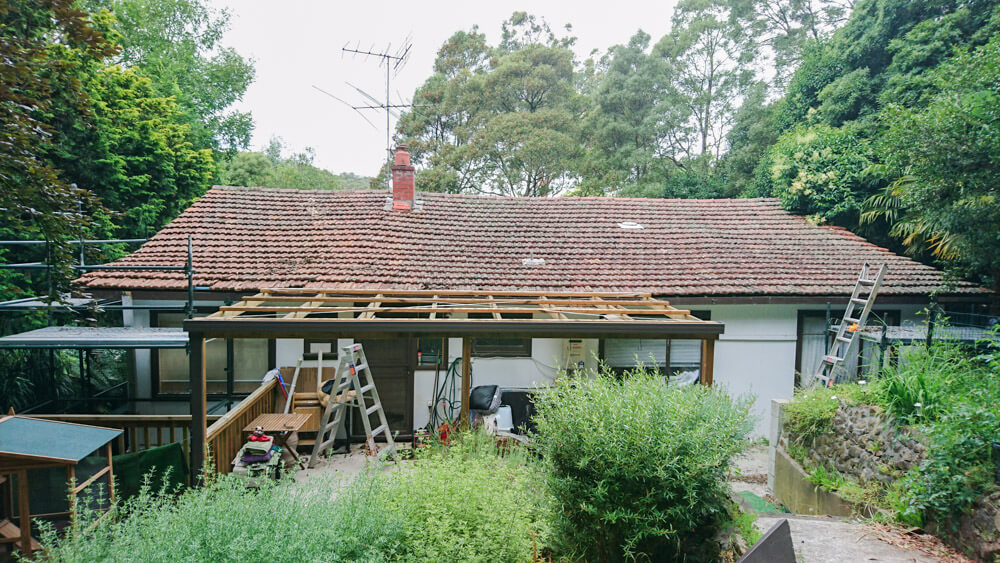 An old wavy tiled roof