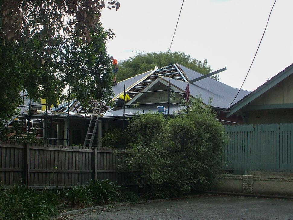 Making progress installing new Colorbond roof in Malvern