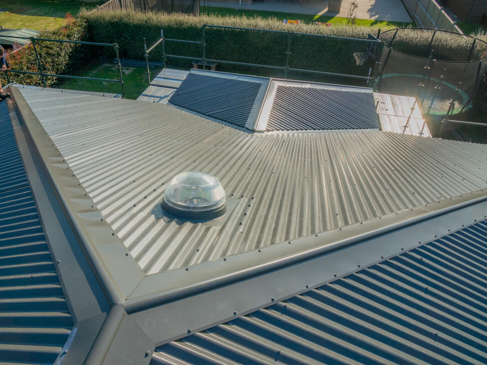 New section of Woodland Grey Colorbond Roof in Berwick