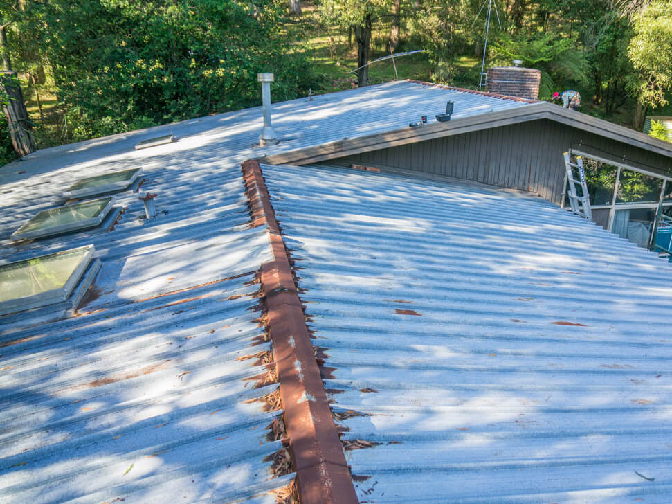 Old metal roof needing replacement