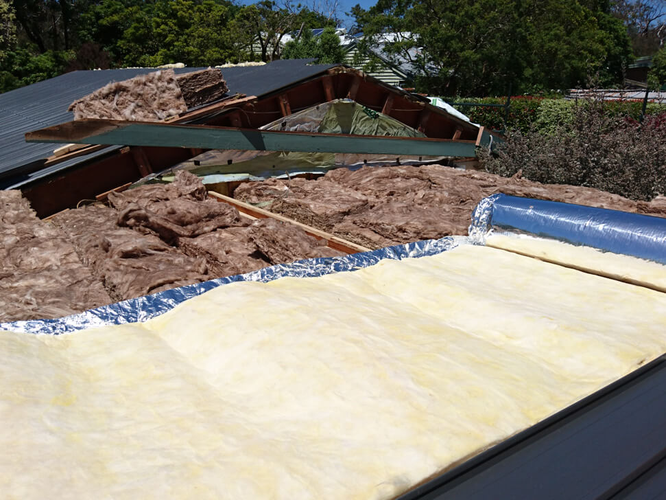Roof Insulation being installed